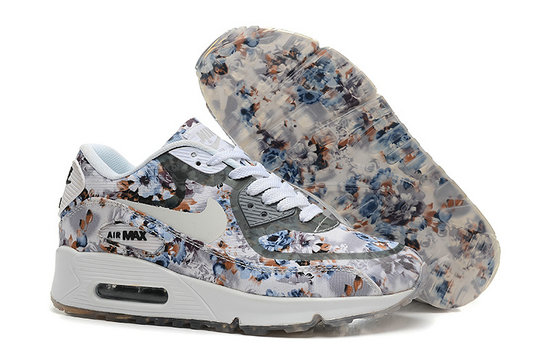 Nike Air Max 90 Floral Print Womens Gray Wild Rose Training Shoes On VaporMaxRunning