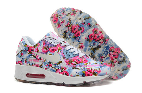 Nike Air Max 90 Floral Print Womens Jade Wild Rose Training Shoes On  VaporMaxRunning