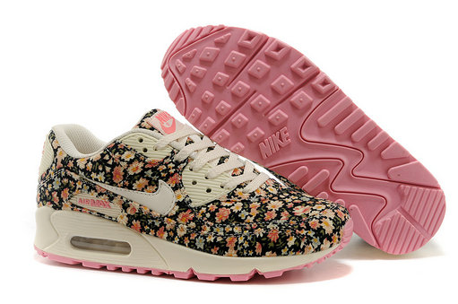 Nike Air Max 90 Floral Print Womens Jasmine Flower Training Shoes On VaporMaxRunning