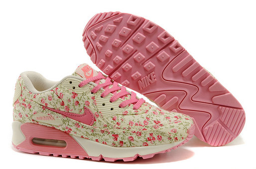 Nike Air Max 90 Floral Print Womens Peach Flower Training Shoes On VaporMaxRunning