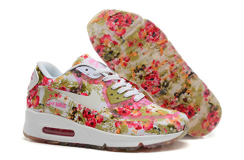 Nike Air Max 90 Floral Print Womens Peachblow Wild Rose Training Shoes On VaporMaxRunning