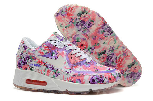 Nike Air Max 90 Floral Print Womens Pink Purple Wild Rose Training Shoes On VaporMaxRunning