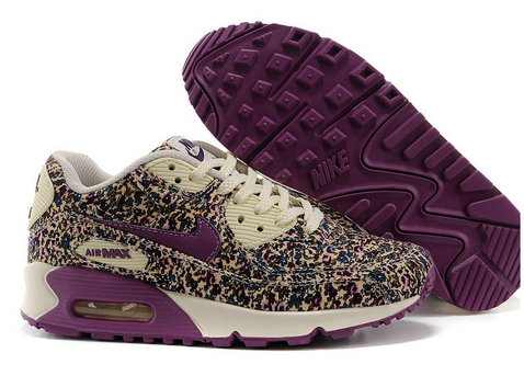 Nike Air Max 90 Floral Print Womens Violet Training Shoes On VaporMaxRunning