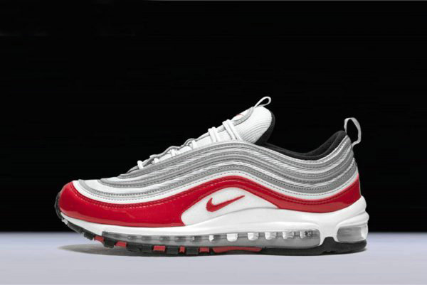 Cheap Nike Air Max 97 Pure Platinum University Red-White Mens and Womens Size 921826-009 On VaporMaxRunning