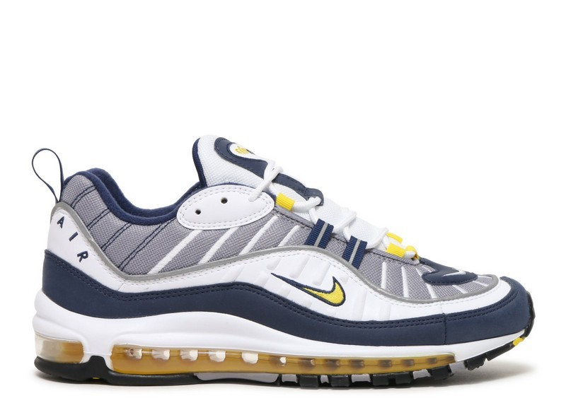 Cheap Nike Air Max 98 640744-105 White Tour Yellow Midnight Navy Cement Grey On VaporMaxRunning
