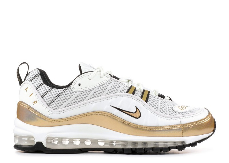 Cheap Nike Air Max 98 Uk Prime Meridian Aj6302-100 Summit White Metallic Gold On VaporMaxRunning