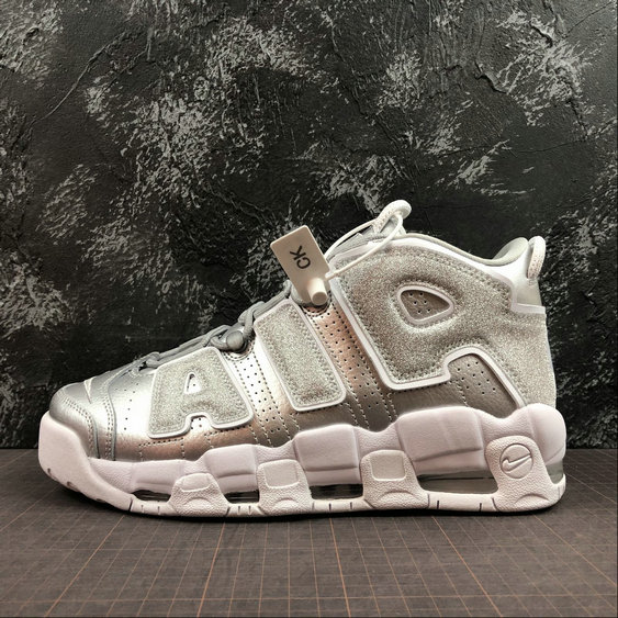 Nike Air More Uptempo Mens Womens 917593-003 Metallic Silver Argent Metallique On VaporMaxRunning