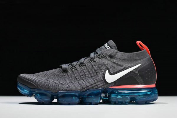 Cheap Nike Air VaporMax Flyknit 2.0 Thunder Grey White-Bright Crimson Free Shipping On VaporMaxRunning