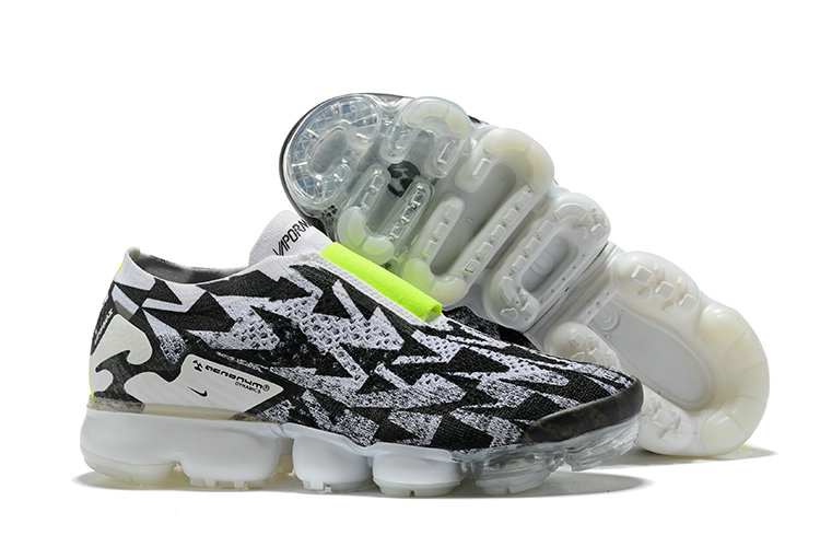 Nike Air Vapormax FLYKNIT MOC 2 Acronym Mens Grey Black Fluorescent Green On VaporMaxRunning