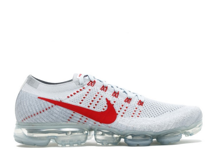 Cheap Nike Air Vapormax Flyknit MenS Running Shoe 849558-006 Pure Platinum University Red Wolf Grey On VaporMaxRunning