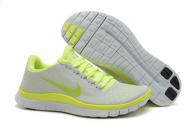 Nike Free 3.0 V4 Womens Running Shoe Light Gray Fluorescence Yellow On VaporMaxRunning