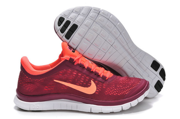 Nike Free 3.0 V5 Womens Rose Red Orange Running Shoes On VaporMaxRunning