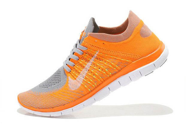 Nike Free 4.0 Flyknit Men Orange Grey White On VaporMaxRunning