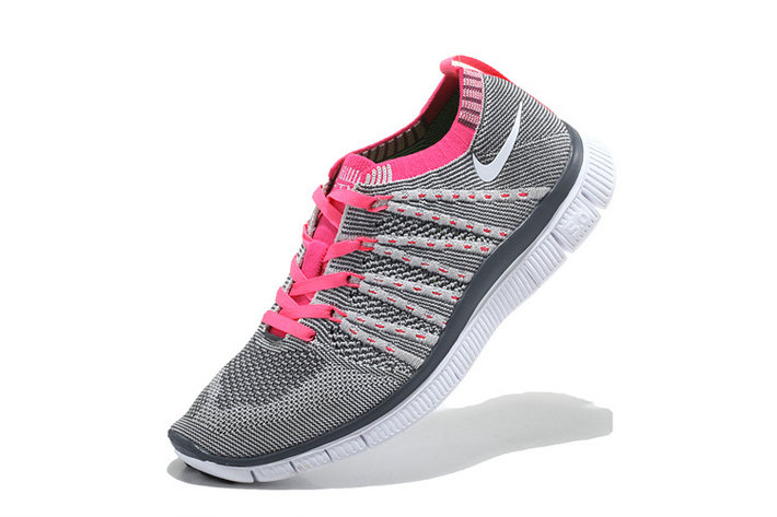 Nike Free 5.0 Flyknit  Women Grey Pink White On VaporMaxRunning