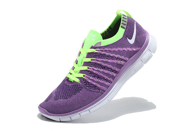 Nike Free 5.0 Flyknit  Women Purple Fluorescent Green White On VaporMaxRunning