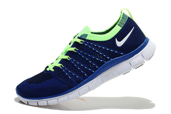 Nike Free 5.0 Flyknit Men Deep Blue Fluorescent Green On VaporMaxRunning