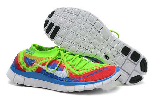 Nike Free 5.0 Flyknit Women Fluorescent Green Blue On VaporMaxRunning
