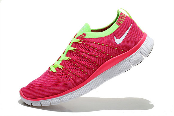 Nike Free 5.0 Flyknit Women Pink Fluorescent Green  White On VaporMaxRunning