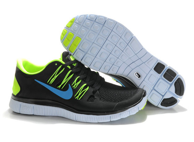 Nike Free 5.0 Mens Black Fluorescence Green Blue Training Shoes On VaporMaxRunning