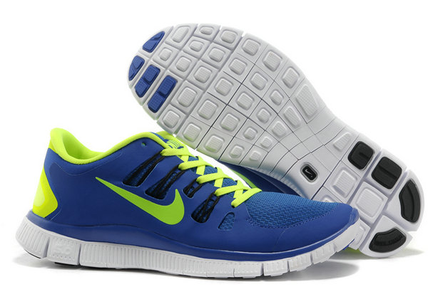 Nike Free 5.0 Mens Blue Fluorescence Green Training Shoes On VaporMaxRunning