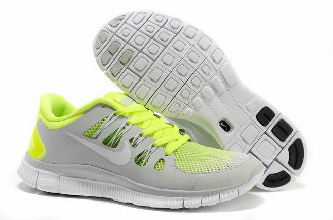 Nike Free 5.0 Mens Light Gray Fluorescence Green Training Shoes On VaporMaxRunning