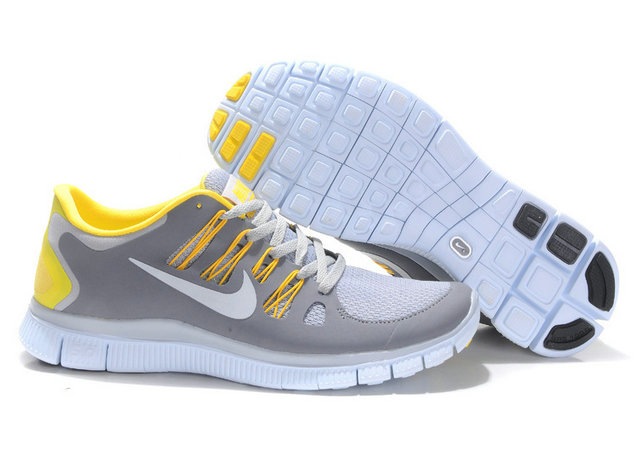 Nike Free 5.0 Mens Light Gray White Yellow Training Shoes On VaporMaxRunning