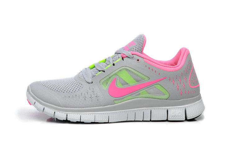 Nike Free Run 3 Womens Running Shoes Light Gray Pink Fluorescence Green On VaporMaxRunning