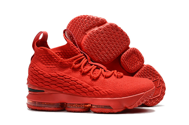 119c19fc1bb1 2018 New Lebron Shoes Cheap Nike LeBron 15 PE For Ohio State Red Black On  VaporMaxRunning