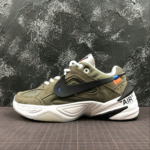 Cheap Nike M2K Tekno x Off White AO3108-580 Phantom Oil Grey Matte Silver Fantome Gris Petrole On VaporMaxRunning