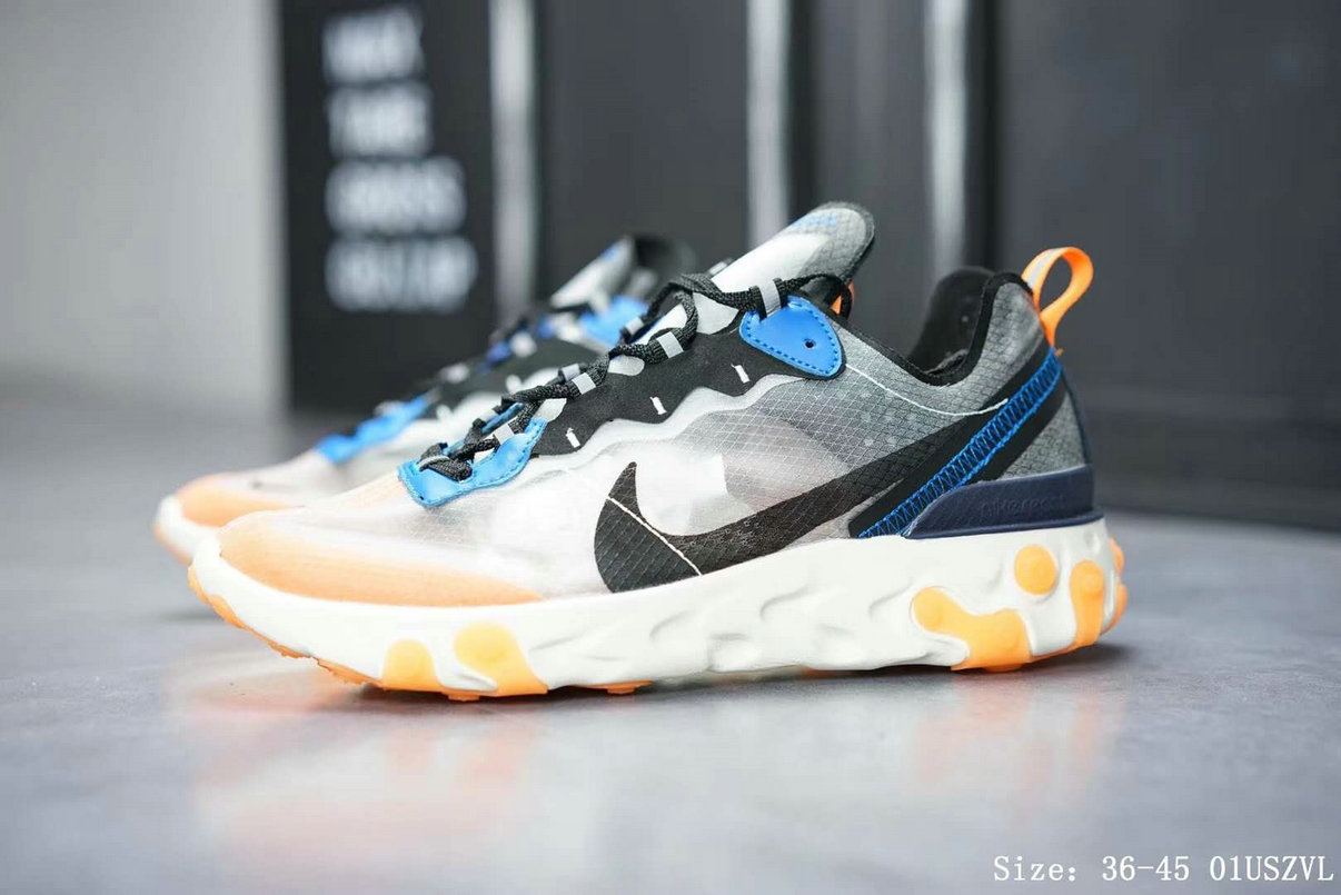 super popular 49bb3 21d4c Nike React Element 87 Mens Womens Releasing In Thunder Blue And Total  Orange On VaporMaxRunning