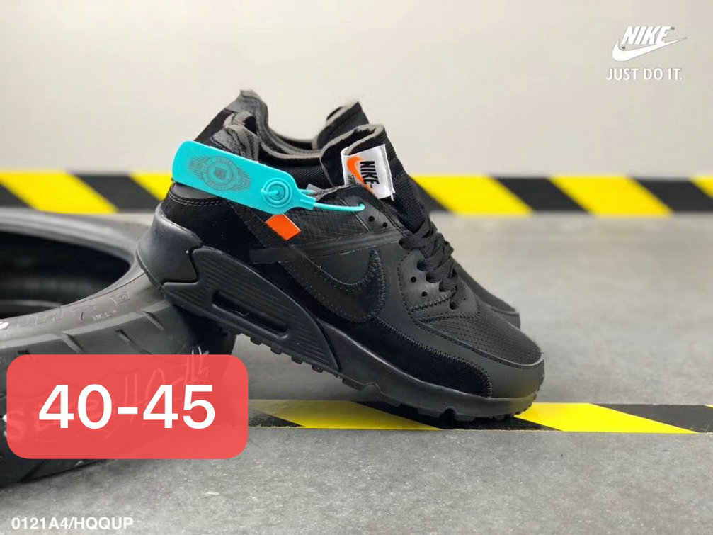 Off White X Boys Nike Air Max 90 Unisex Running Shoes Black All On VaporMaxRunning