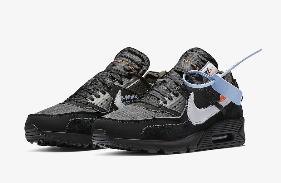 Off-White x Boys Nike Air Max 90 Black-Cone-White-Black AA7293-001 On VaporMaxRunning