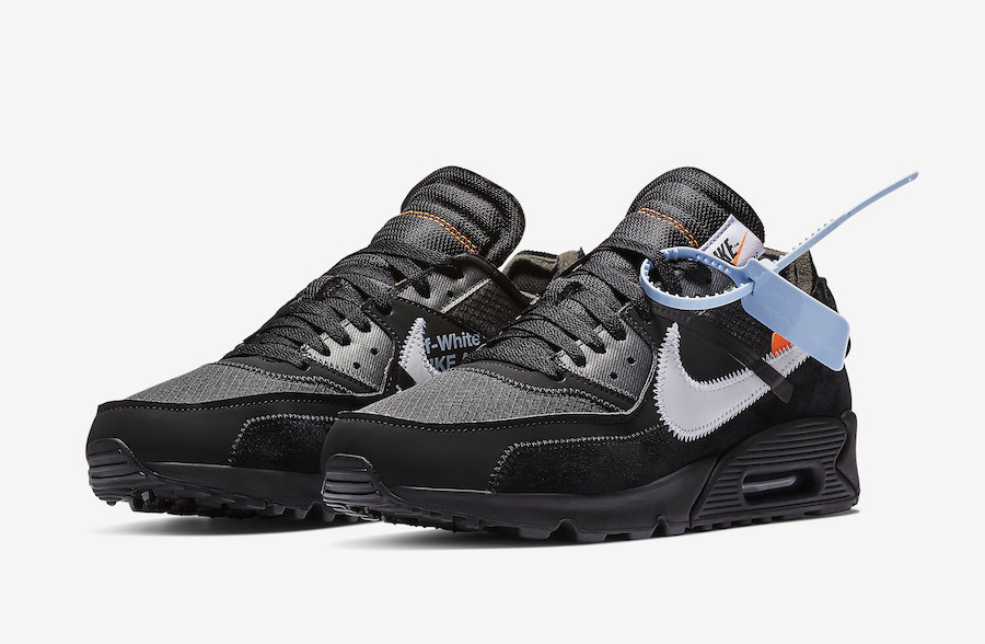 Off-White x Nike Air Max 90 Black-Cone-White-Black AA7293-001 On VaporMaxRunning