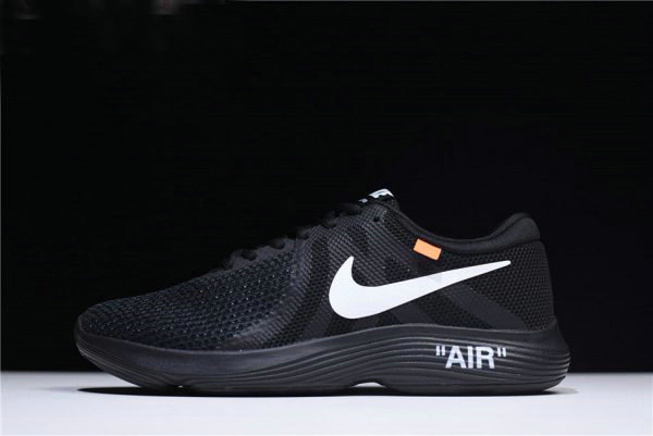 Cheap Off-White x Nike Revolution 4 Black Mens and WMNS Size Running Shoes 908988-011 On VaporMaxRunning