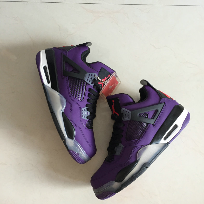 Cheap TRAVIS SCOTT AIR JORDAN 4 PURPLE On VaporMaxRunning