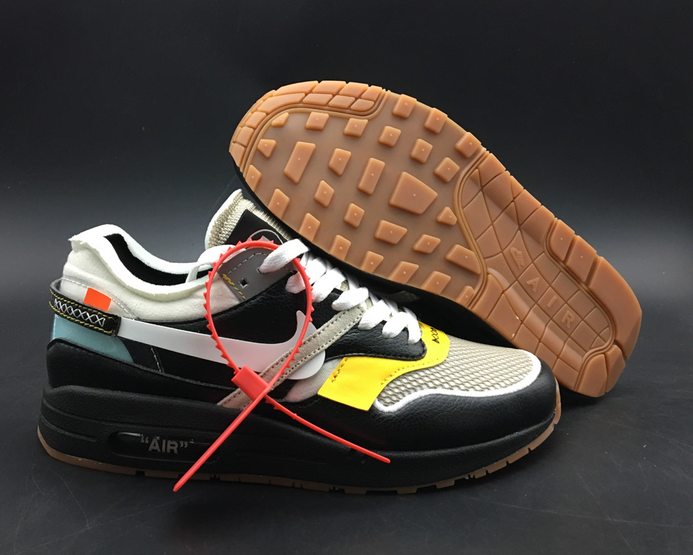 Virgil Abloh x BespokeIND Create Off-White X Boys Nike Air Max 1s Black Leather On VaporMaxRunning
