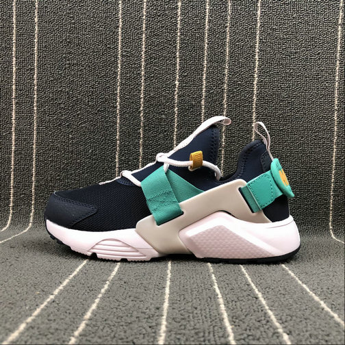 WOMENS NIKE AIR HUARACHE CITY LOW AH6804-401 OBSIDIAN WHITE VAST GREY KINETIC GREEN