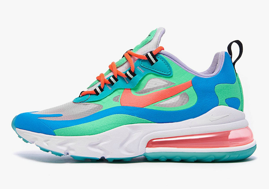 Where To Buy 2019 Womens Cheap Nike Air Max 270 React Psychedelic Movement Electro Green Blue Lagoon Hyper Jade Flash Crimson AT6174-300 On VaporMaxRunning