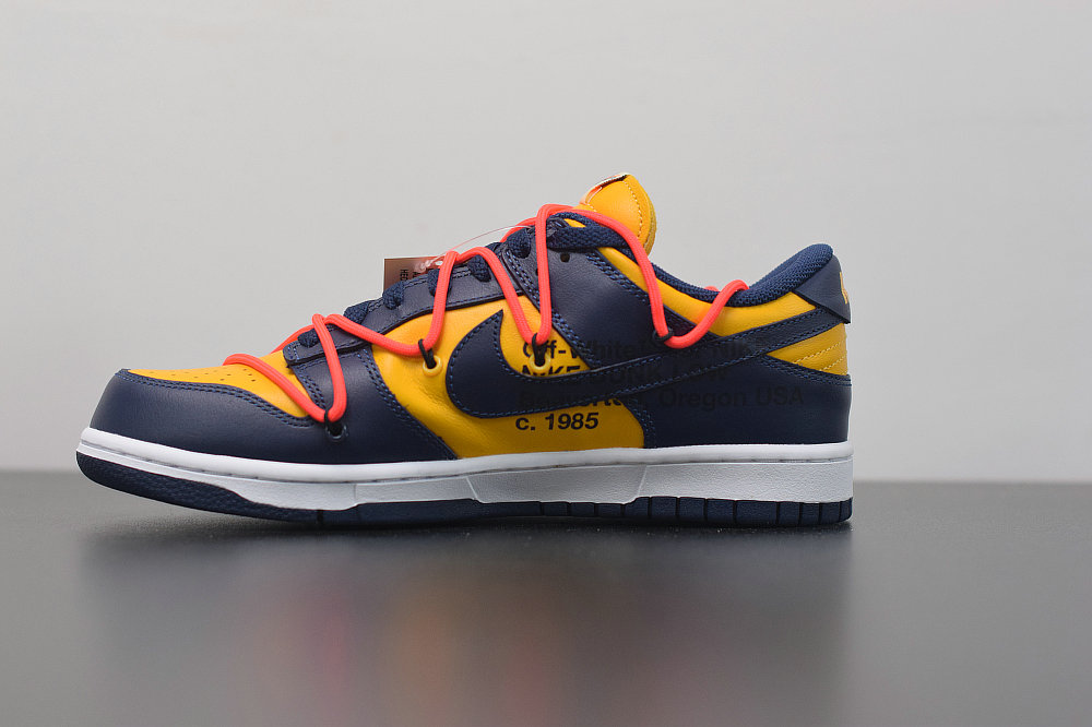 Where To Buy 2019 Womens Cheap Nike Dunk Low LTHR OW Midnight Navy University Gold Marine Minut Universite OR CT0856-700 On VaporMaxRunning