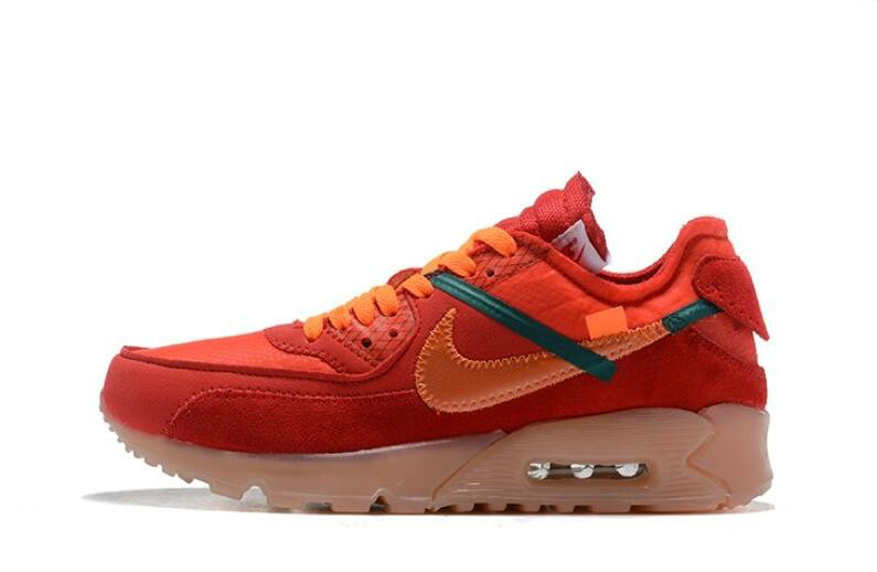 Where To Buy 2019 Womens Cheap Off White X Nike Air Max 90 Red Orange OW AA7293-600 On VaporMaxRunning