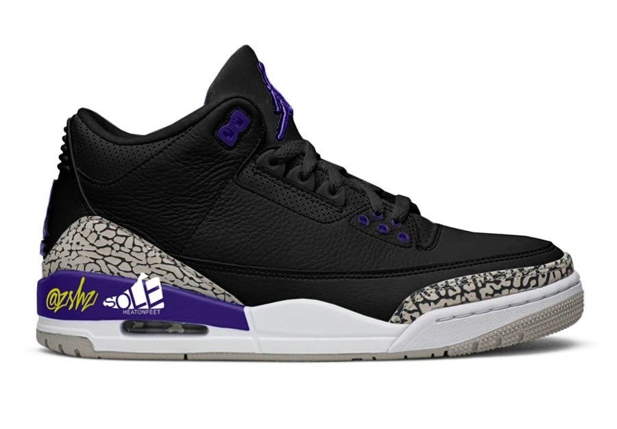 Where To Buy 2020 Cheap Nike Air Jordan 3 Black Cement Grey-White-Court Purple CT8532-050 On VaporMaxRunning