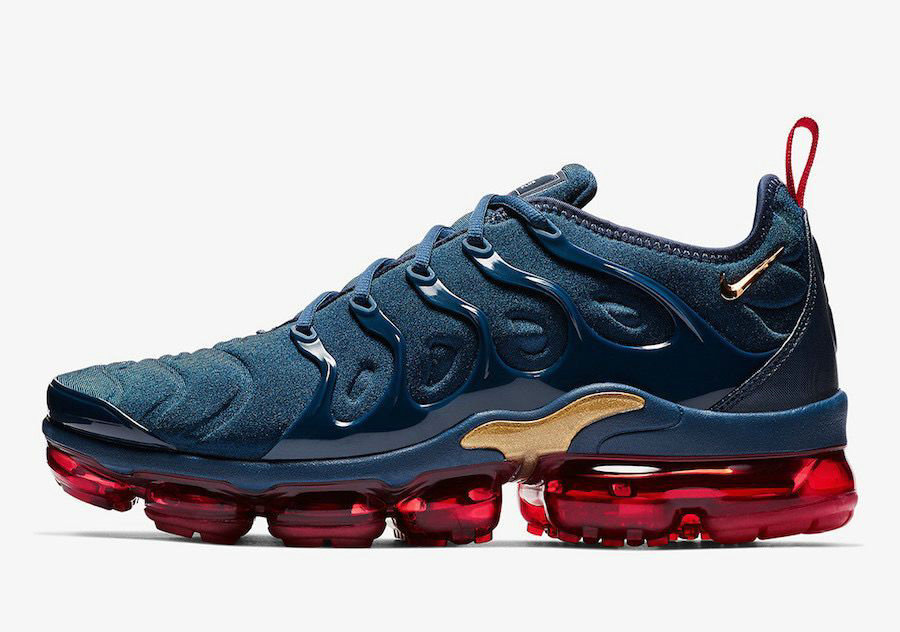 Where To Buy 2020 Cheap Nike Air VaporMax Plus Midnight Navy Metallic Gold-Black-University Red 924453-405 On VaporMaxRunning