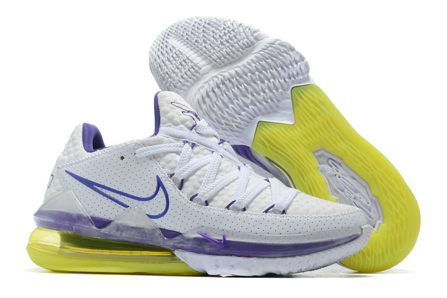 Where To Buy 2020 Cheap Nike LeBron 17 Low Lakers Home White Voltage Purple-Dynamic Yellow CD5007-102 On VaporMaxRunning