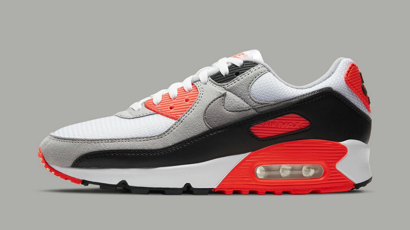 Where To Buy 2022 Cheap Womens Nike Air Max 3 Air Max 90 Infrared White Black-Cool Grey-Radiant Red CT1685-100 On VaporMaxRunning