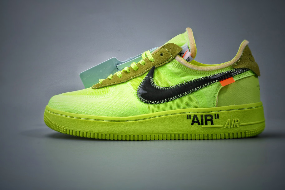 Where To Buy Cheap Nike Air Force 1 Low Off-White Volt Hyper Jade-Cone-Black AO4606-700 On VaporMaxRunning