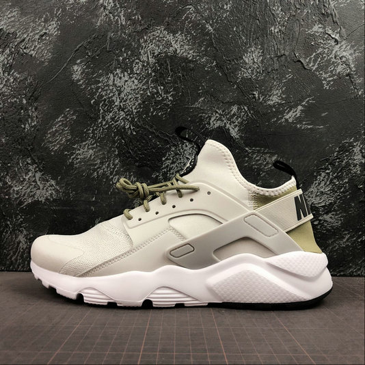 Where To Buy Cheap Nike Air Huarache Run Ultra White Grey Army Green Blanc Gris Vert 847568-019 On VaporMaxRunning