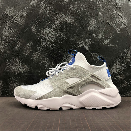 Where To Buy Cheap Nike Air Huarache Run Ultra White Loyal Blue Silver Blanc Argent 847567-014 On VaporMaxRunning