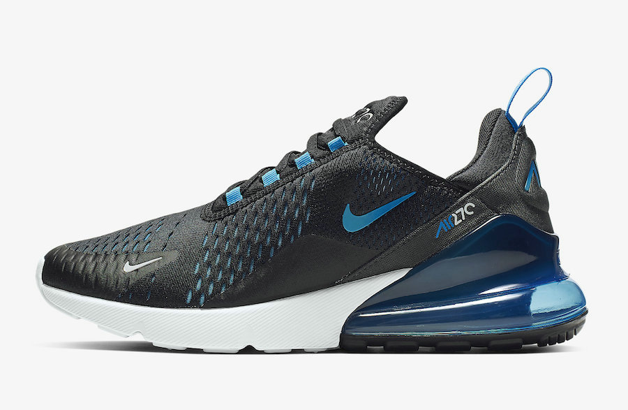 Where To Buy Cheap Nike Air Max 270 Black Photo Blue-Blue Fury-Pure Platinum-Anthracite-White AH8050-019 On VaporMaxRunning