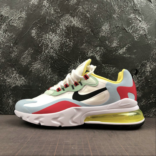 Where To Buy Cheap Nike Air Max 270 React Red Yellow Blue White Rouge Jaune Bleu Blanc AO6174-002 On VaporMaxRunning