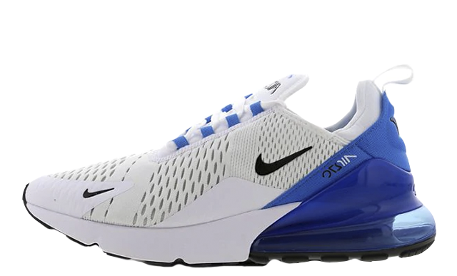 Where To Buy Cheap Nike Air Max 270 White Black Photo Blue Blanc Bleu Photo Noir AH8050-110 On VaporMaxRunning
